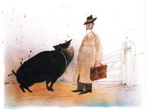 Illustration by Ralph Steadman in Animal Farm by George Orwell